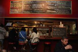 The menu board above  the kitchen bar at the Broken Record Kitchen in San Francisco, Calif.,  on Tuesday, August 7, 2012.
