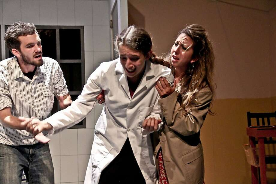"Rocky (Casey Fern, left), Grace (Maria Giere Marquis) and April (Kate Jones) work at a drug company in ""Believers."" Photo: Jim Norrena"