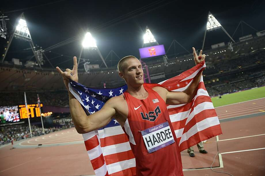 US' Trey Hardee celebrates after winning silver in the athletics event men's decathlon during the London 2012 Olympic Games on August 9, 2012 in London. AFP PHOTO / ADRIAN DENNISADRIAN DENNIS/AFP/GettyImages Photo: Adrian Dennis, AFP/Getty Images