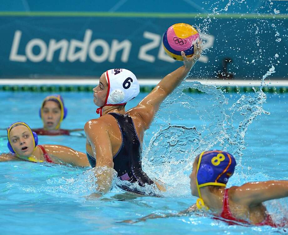 Maggie Steffens (center) of the U.S. scored five goals in the final and led all scorers in London with 21. Photo: Adek Berry, AFP/Getty Images
