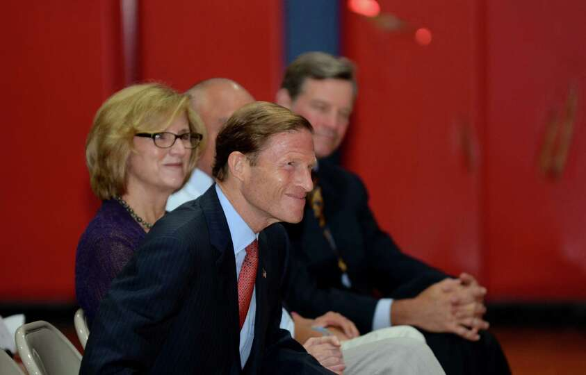 Sen. Richard Blumenthal is introduced during the Let's Get Ready program graduation at the Boys and