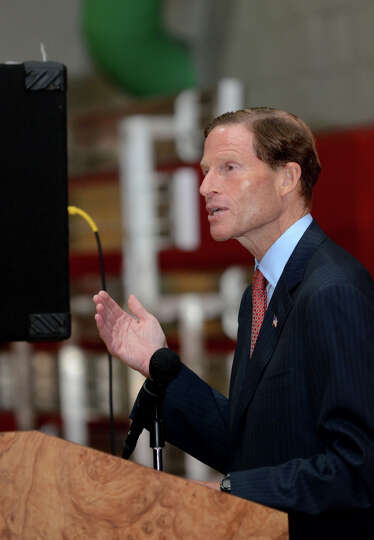 Sen. Richard Blumenthal speaks during the Let's Get Ready program graduation at the Boys and Girls C
