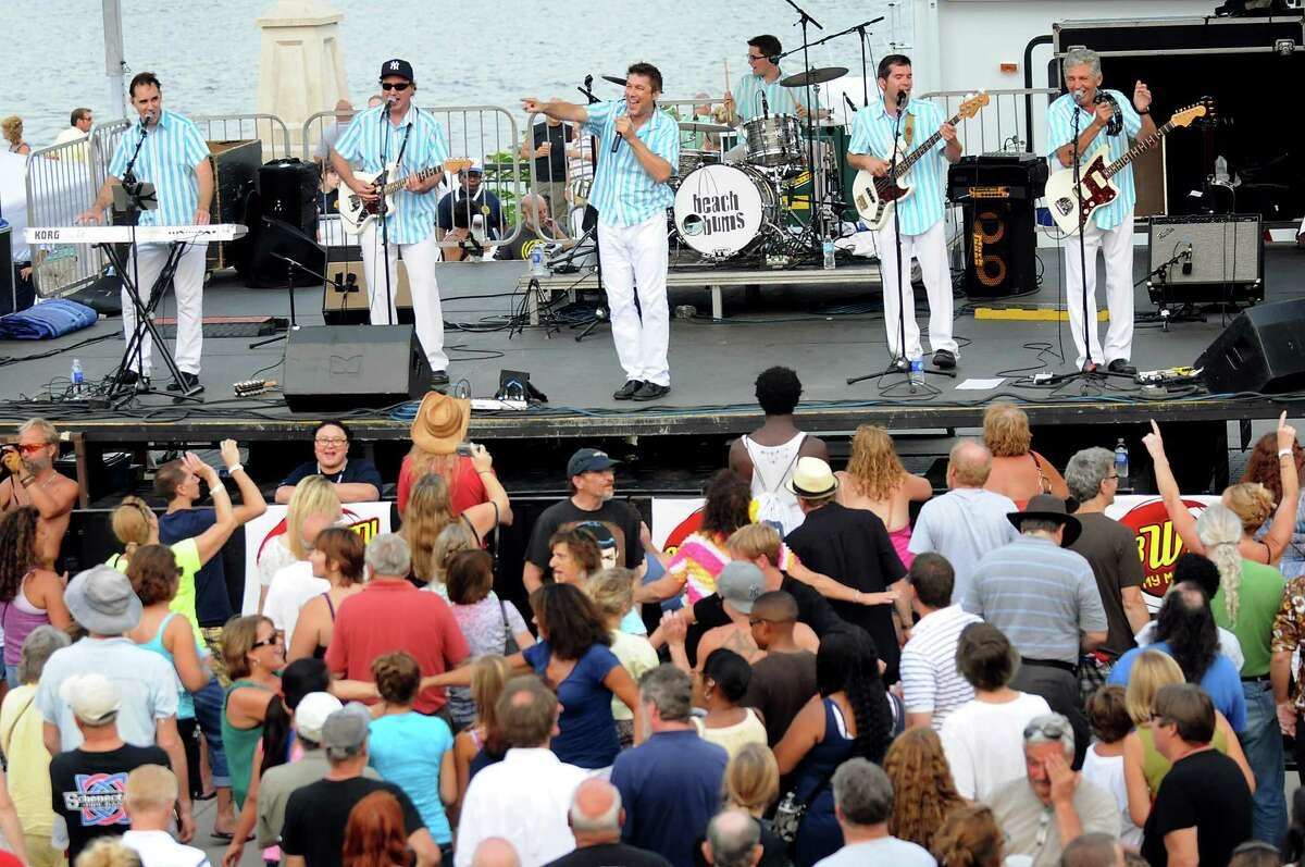 The Beach Bums: A Tribute to The Beach Boys perform during the final concert of the Alive at Five series on Thursday, Aug. 9, 2012, at Riverfront Park in Albany, N.Y. (Cindy Schultz / Times Union)
