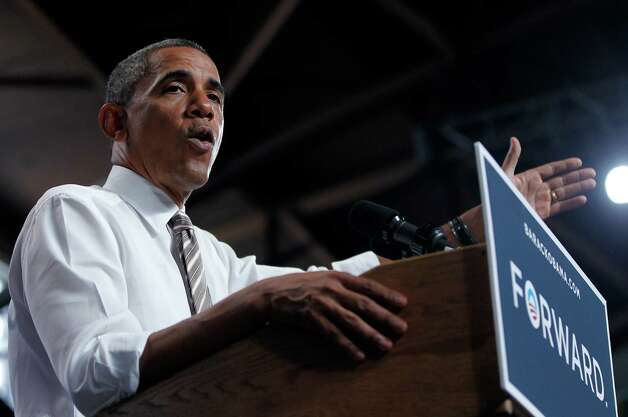 President Barack Obama speaks at a campaign event at the Colorado State Fairgrounds, Thursday, Aug. 9, 2012, in Pueblo, Colo. (AP Photo/Pablo Martinez Monsivais) Photo: Pablo Martinez Monsivais