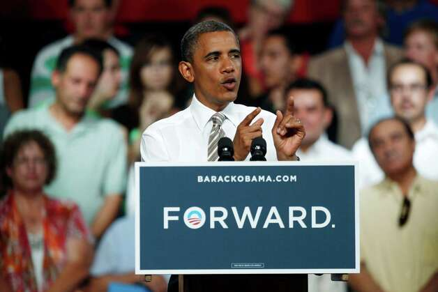 President Barack Obama speaks during a campaign stop at the Colorado State Fairgrounds in Pueblo, Colo., Thursday Aug. 9, 2012.  (AP Photo/David Zalubowski) Photo: David Zalubowski