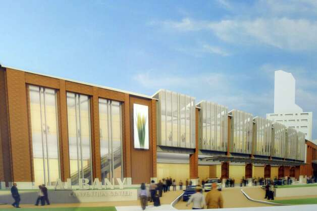 Artist rendering of the proposed Albany Convention Center on display at the Albany Heritage Visitors Center in Albany, NY Wednesday April 27, 2011. Photo: Michael P. Farrell