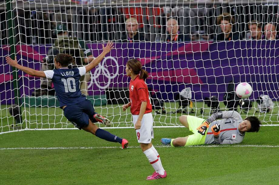United States' Carli Lloyd (10) celebrates after scoring against Japan goalkeeper Miho Fukumoto (1) during the women's soccer gold medal match at the 2012 Summer Olympics, Thursday, Aug. 9, 2012, in London. (AP Photo/Andrew Medichini) Photo: Andrew Medichini