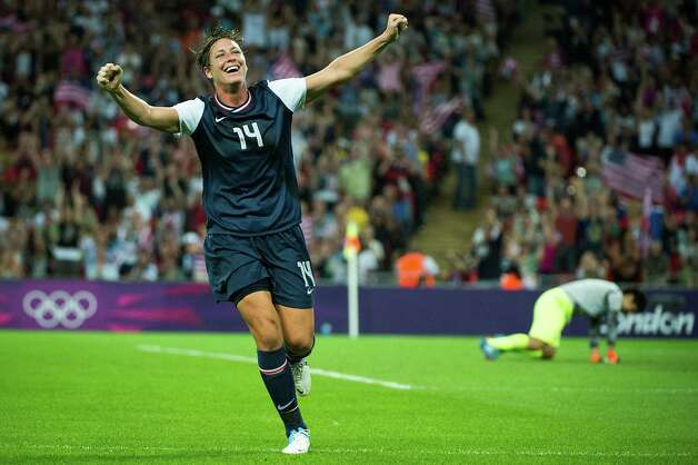United States' Abby Wambach celebrates a goal by Carli Lloyd that proved to be the difference during the second half of the women's soccer gold medal match at the 2012 London Olympics on Thursday, Aug. 9, 2012. The USA won the game 2-1 to claim the gold medal. Photo: Smiley N. Pool, Houston Chronicle / © 2012  Houston Chronicle