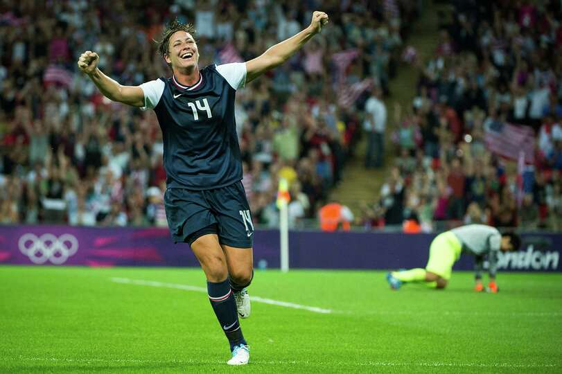 United States' Abby Wambach celebrates a goal by Carli Lloyd that proved to be the difference during