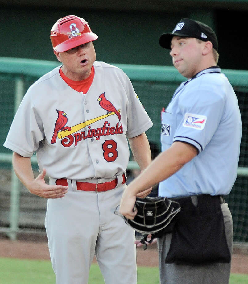 Springfield Cardinals manager Mike Shildt (8) argues with umpire Justin Sassaman during a Texas League baseball game against the San Antonio Missions, Thursday, Aug. 9, 2012, in San Antonio. Photo: Darren Abate, For The Express-News
