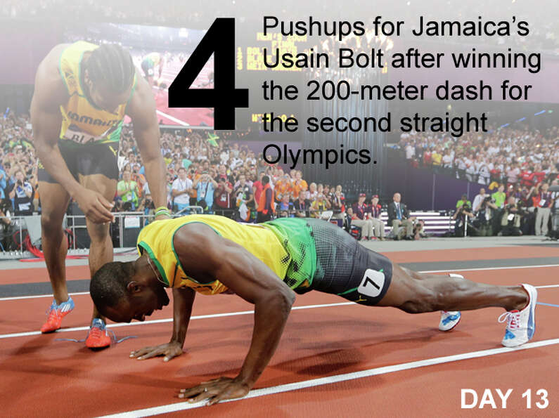 Jamaica's Yohan Blake, left, celebrates winning silver with Jamaica's Usain Bolt, who won gold, f