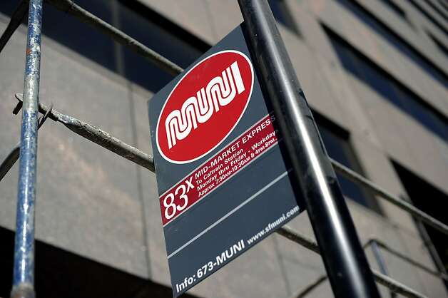 The MUNI sign for the 83X Mid Market Express in San Francisco, CA Thursday August 9th, 2012 Photo: Michael Short, Special To The Chronicle