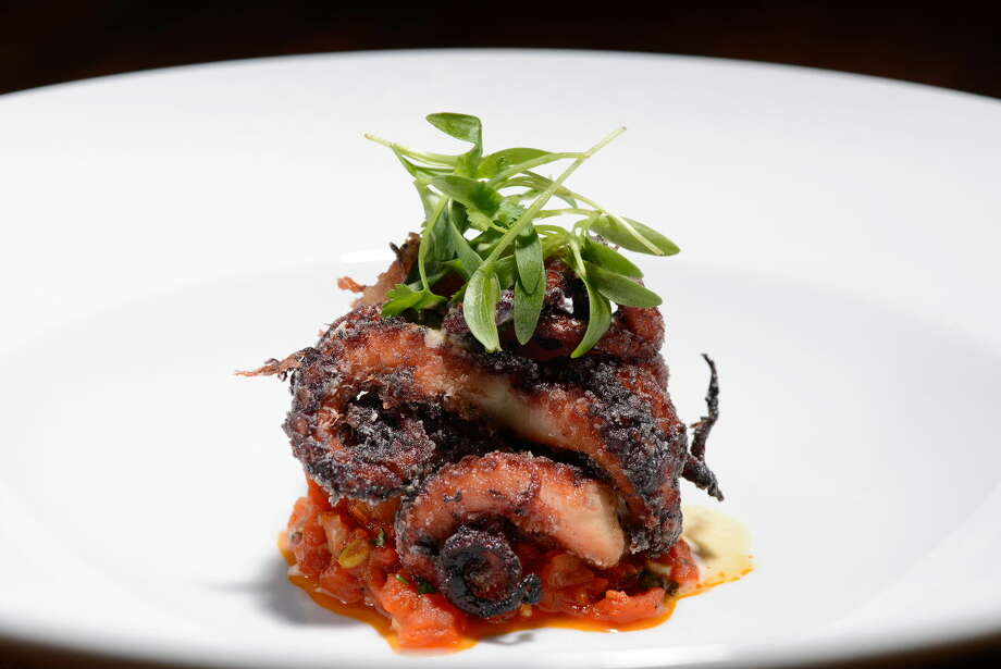 Hubbell & Hudson Bistro's Chef Austin Simmons recently debuted a new seasonal menu with a mix of appetizers, entrees and desserts, including red wine braised octopus.
