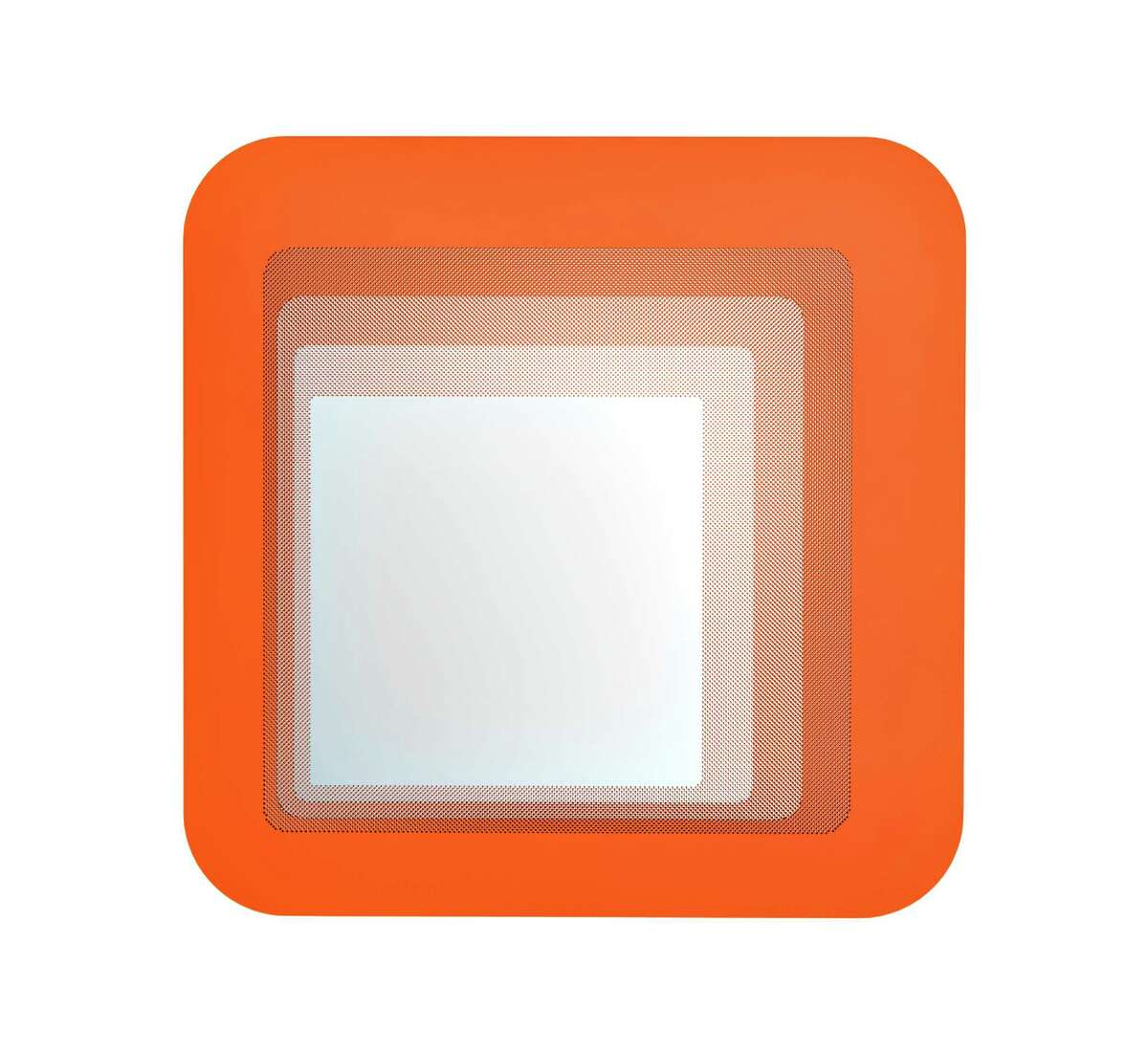 A stick-on orange Hylkje mirror, $4.99 at Ikea, can affix to any wall.