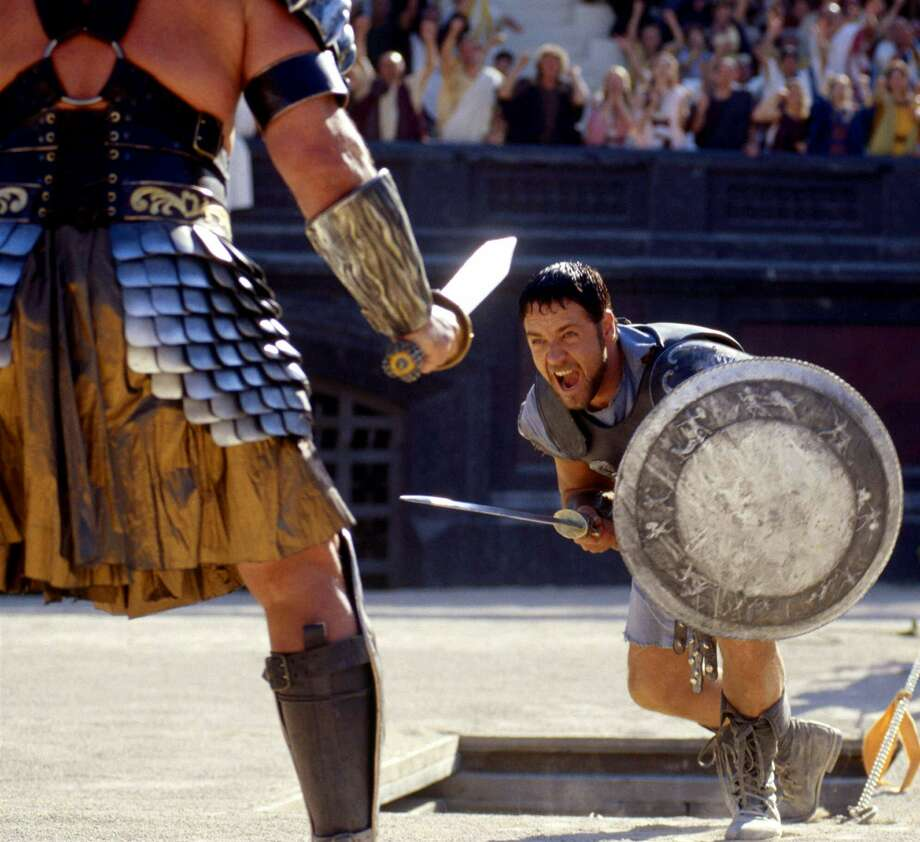 """""""Gladiator""""–Tapped for the throne after the death of the emperor, Roman general Maximus instead finds himself condemned to death by the late ruler's power-hungry son. Escaping execution, Maximus becomes a powerful gladiator, bent on exacting revenge in the ring. Available May 1"""