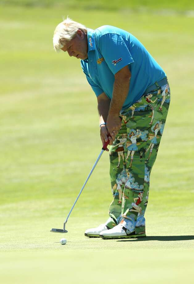 John Daly makes a birdie putt on the fifth hole during the first round of the Reno-Tahoe Open on August 2, 2012 at Montreux Golf and Country Club in Reno, Nevada.  (Stephen Dunn / Getty Images)