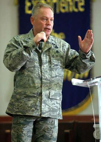 Col. Glenn Palmer, commander of the 737th Training Group at Lackland AFB, speaks Friday March 2, 2012 to trainees during so-called Zero Week activities. Photo: William Luther, William Luther/wluther@express-news.net / © 2012 WILLIAM LUTHER