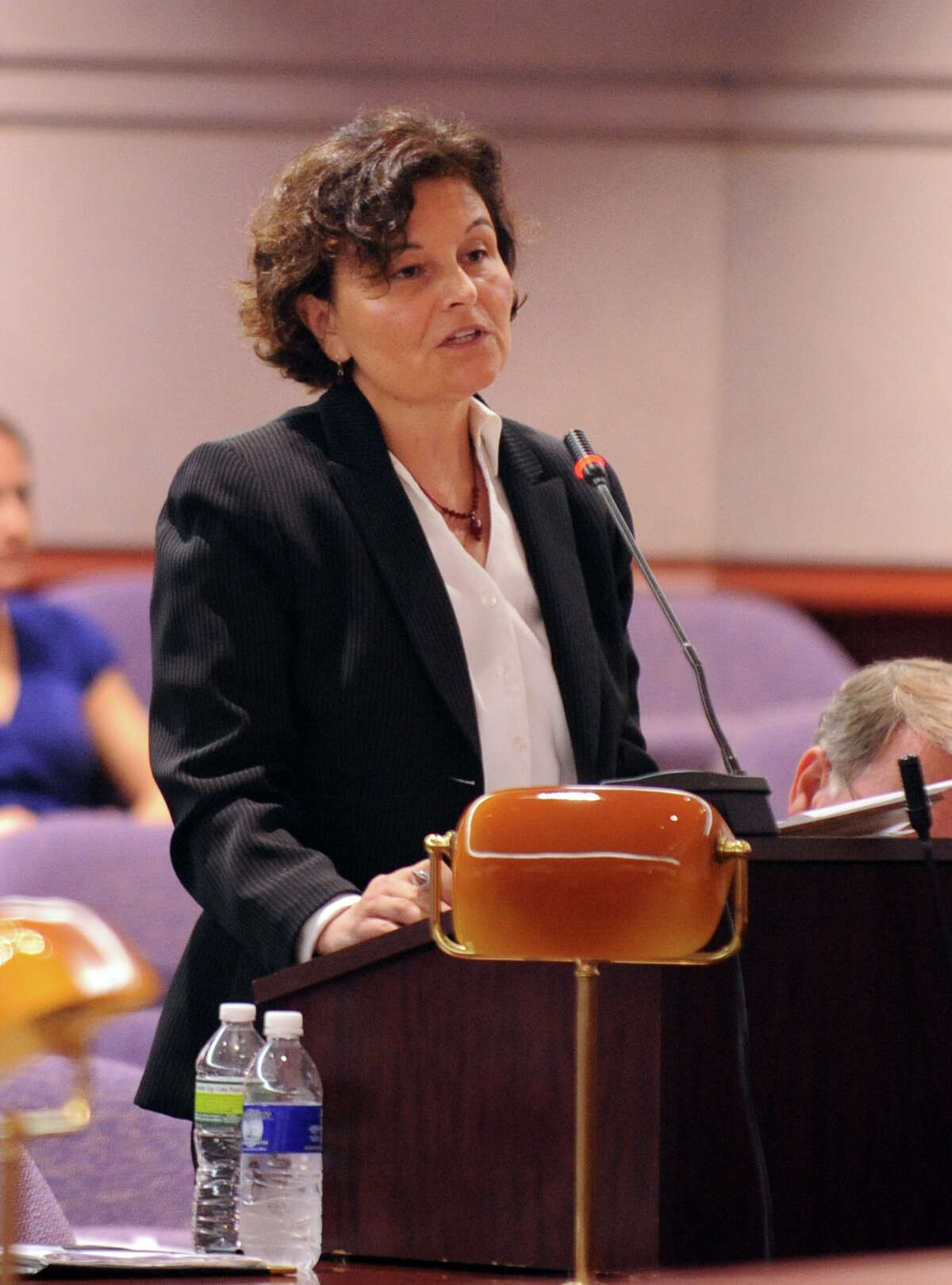 Assistant Attorney General Maite Barainca speaks during a hearing before the state Claims Commissioner Friday, August 10, 2012 at the Legislative Office Building in Hartford, Conn. Charla Nash is seeking permission from the commissioner to sue the state for $150 million in damages from a 2009 chimpanzee attack.