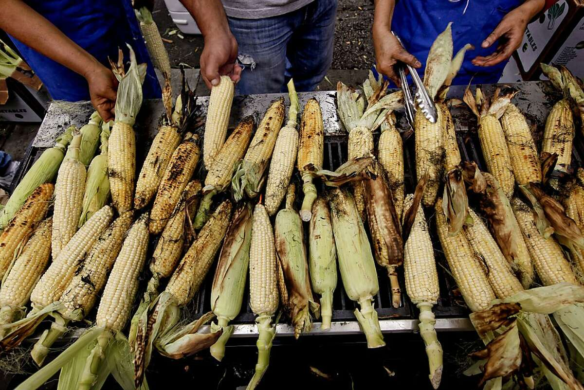 Fresh corn on the cob being grilled at the San Francisco Street Festival in the Mission District in 2010.