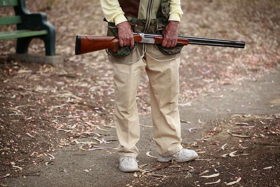 Walter Biondi, 93, holds his Browning shotgun at the Pacific Rod & Gun Club in San Francisco, Calif. Photo: Mike Kepka, The Chronicle