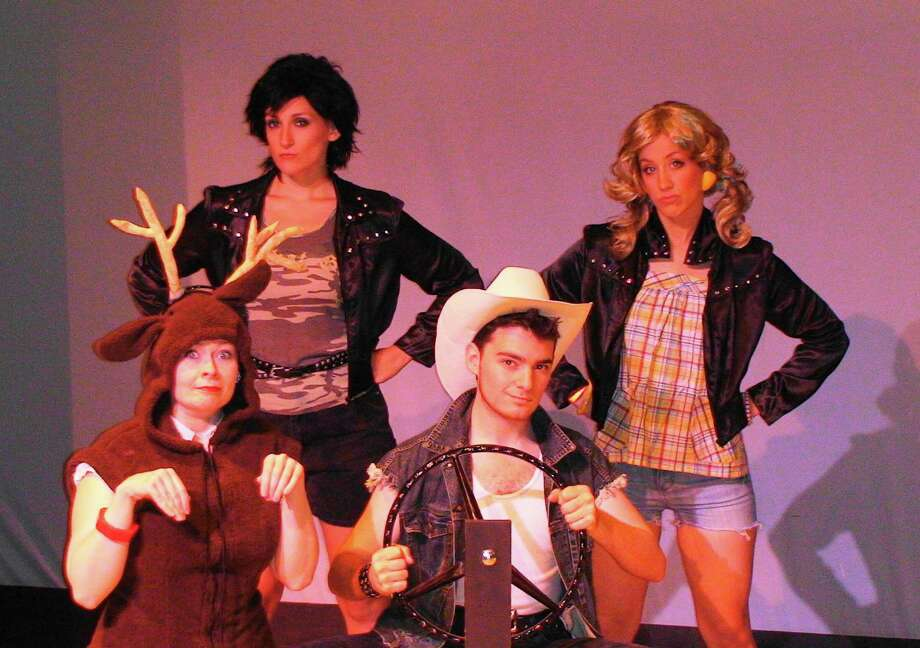 """Jerielle Morwitz, left, Caitlin Sams, Jordan Wolfe and Victoria Broadhurst in """"The Great American Trailer Park Musical"""" at The Theater Barn through Aug. 19, 2012. (Courtesy Theater Barn)"""