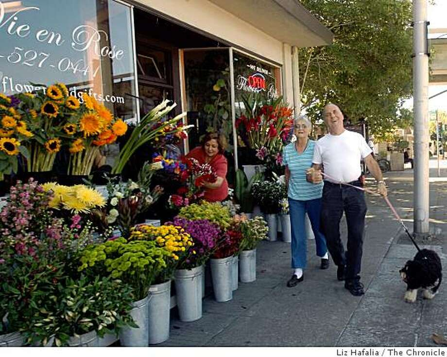 Flower shop La Vie en Rose's wares create a pretty picture on Solano Avenue in Albany. Photo: Liz Hafalia, The Chronicle