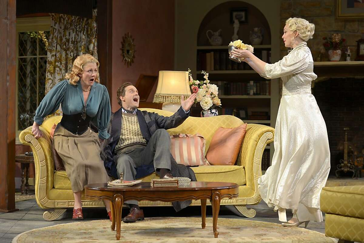Charles (Anthony Fusco, center) and Ruth Condomine (Rene Augesen, left) find their marriage threatened by the ghost of his former wife Elvira (Jessica Kitchens) in California Shakespeare Theater's