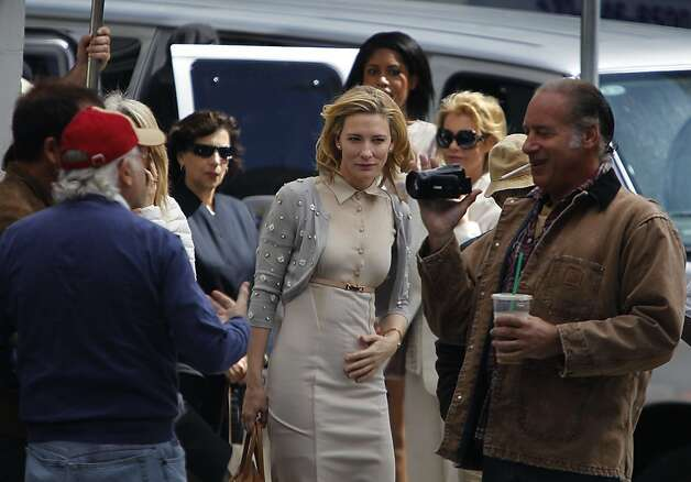 Actress Cate Blanchett prepares to film a scene from Woody Allen's new feature-length film at Shreve and Co. jewelers at Post Street and Grant Avenue in San Francisco, Calif. on Friday, Aug. 10, 2012. Photo: Paul Chinn, The Chronicle