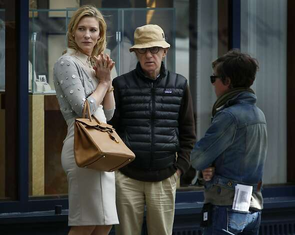 Actress Cate Blanchett, director Woody Allen and a crew member confer during filming by Shreve and Co. jewelers on Post Street. Photo: Paul Chinn, The Chronicle