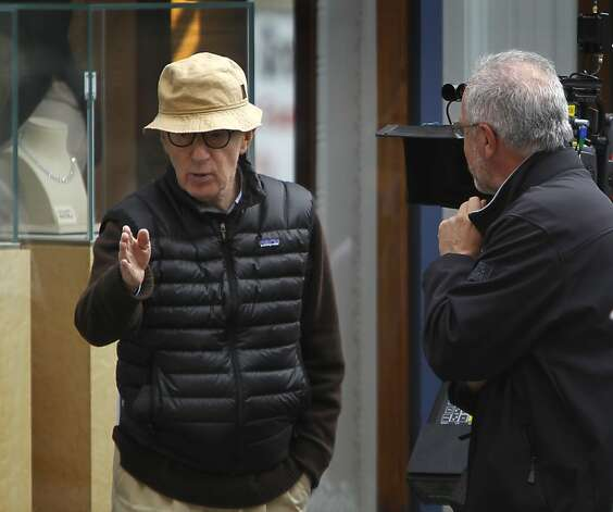 Director Woody Allen discusses a scene about to be shot for his new film at Shreve and Co. jewelers at Post Street and Grant Avenue in San Francisco, Calif. on Friday, Aug. 10, 2012. Photo: Paul Chinn, The Chronicle