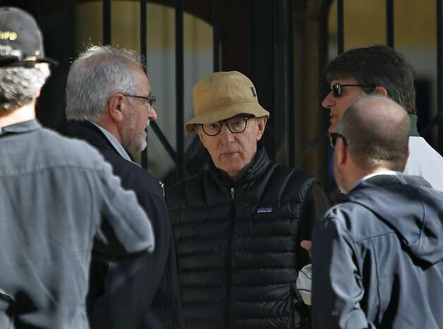 Director Woody Allen and crew members discuss a scene about to be shot for his new film at Shreve and Co. jewelers at Post Street and Grant Avenue in San Francisco, Calif. on Friday, Aug. 10, 2012. Photo: Paul Chinn, The Chronicle