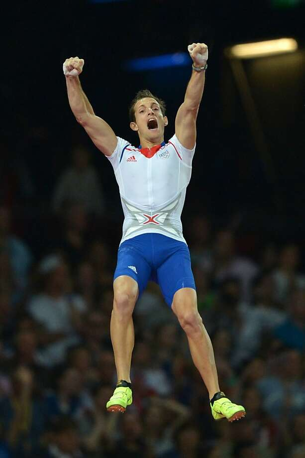 France's Renaud Lavillenie celebrates as he competes to win the men's pole vault final at the athletics event of the London 2012 Olympic Games on August 10, 2012 in London. AFP PHOTO / JOHANNES EISELEJOHANNES EISELE/AFP/GettyImages Photo: Johannes Eisele, AFP/Getty Images