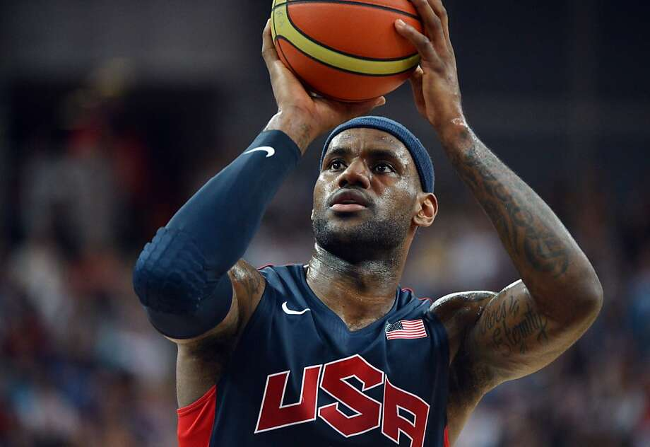 US forward LeBron James prepares to shoot a penalty during the London 2012 Olympic Games men's semifinal basketball game between Argentina and the US at the North Greenwich Arena in London on August 10, 2012. AFP PHOTO/MARK RALSTONMARK RALSTON/AFP/GettyImages Photo: Mark Ralston, AFP/Getty Images