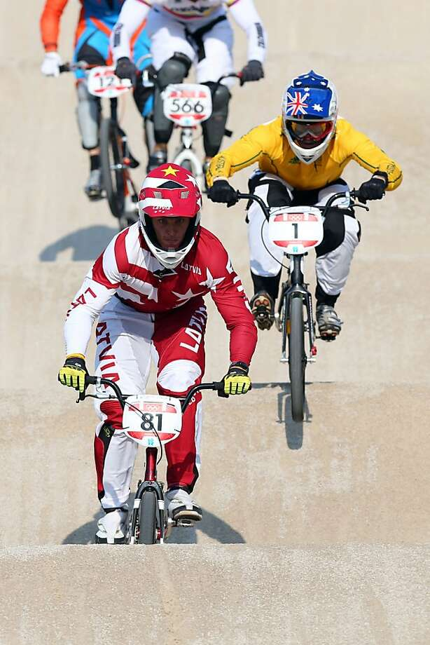 Maris Strombergs of Latvia takes the gold medal in the BMX cycling final. Photo: Alex Livesey, Getty Images