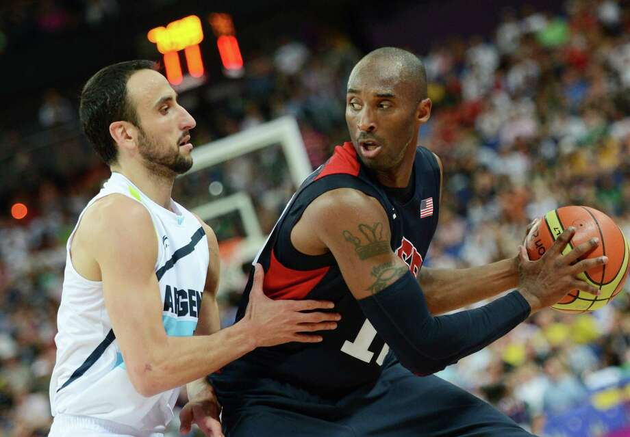US guard Kobe Bryant (R) is challenged by Argentinian guard Emanuel Ginobili during the London 2012 Olympic Games men's semifinal basketball game between Argentina and the USA at the North Greenwich Arena in London on August 10, 2012. AFP PHOTO /TIMOTHY A.  CLARYTIMOTHY A. CLARY/AFP/GettyImages Photo: TIMOTHY A. CLARY, AFP/Getty Images / AFP