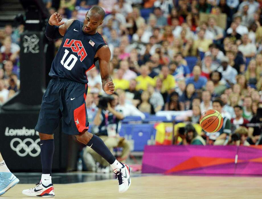US guard Kobe Bryant is pictured in action during the London 2012 Olympic Games men's semifinal basketball game between Argentina and USA at the North Greenwich Arena in London on August 10, 2012. AFP PHOTO /TIMOTHY A.  CLARYTIMOTHY A. CLARY/AFP/GettyImages Photo: TIMOTHY A. CLARY, AFP/Getty Images / AFP