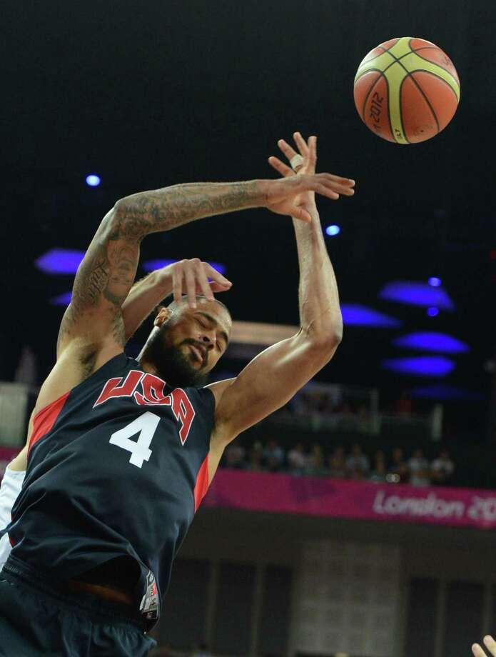 US centre Tyson Chandler jumps for the ball during the London 2012 Olympic Games men's semifinal basketball game between Argentina and the USA at the North Greenwich Arena in London on August 10, 2012. AFP PHOTO /MARK RALSTONMARK RALSTON/AFP/GettyImages Photo: MARK RALSTON, AFP/Getty Images / AFP