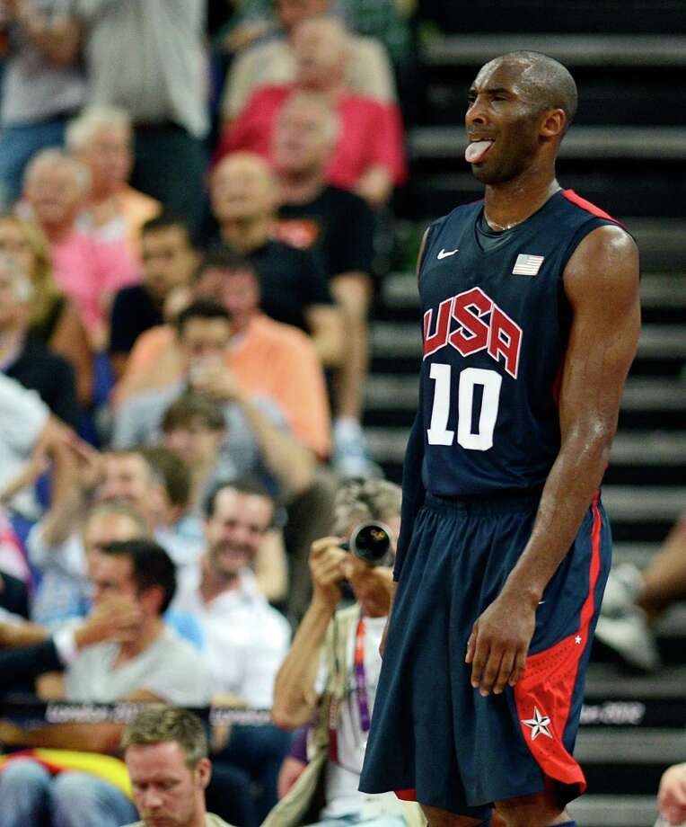 US guard Kobe Bryant reacts during the London 2012 Olympic Games men's semifinal basketball game between Argentina and the USA at the North Greenwich Arena in London on August 10, 2012. AFP PHOTO /TIMOTHY A.  CLARYTIMOTHY A. CLARY/AFP/GettyImages Photo: TIMOTHY A. CLARY, AFP/Getty Images / AFP