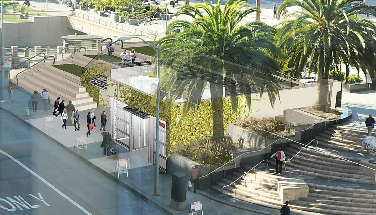 The Central Subway station at Union Square would slide a new structure near the southeast corner, although the design is intended to blend with time into the popular space by means of planted vines.