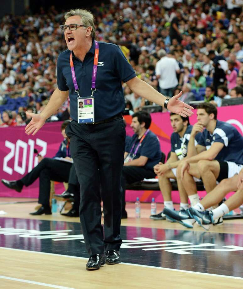 Argentinian coach Julio Lamas reacts during the London 2012 Olympic Games men's semifinal basketball game between Argentina and the USA at the North Greenwich Arena in London on August 10, 2012. AFP PHOTO /MARK RALSTONMARK RALSTON/AFP/GettyImages Photo: MARK RALSTON, AFP/Getty Images / AFP