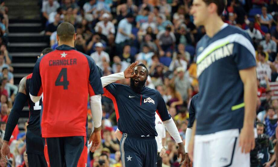 US player James Harden celebarates after his team won 109-83 against Argentina during the London 2012 Olympic Games men's semifinal basketball game between Argentina and the USA at the North Greenwich Arena in London on August 10, 2012. AFP PHOTO /MARK RALSTONMARK RALSTON/AFP/GettyImages Photo: MARK RALSTON, AFP/Getty Images / AFP