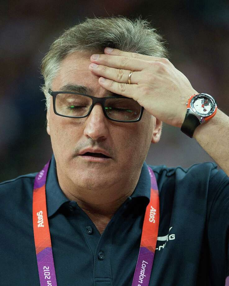 Argentina's coach Julio Lamas has look of concern during their semifinals game against USA at the Basketball Arena at the North Greenwich Arena during the 2012 Summer Olympic Games in London, England, Thursday, August 9, 2012. USA defeated Argentina 109-83 to advance to the Gold Medal game. (Harry E. Walker/MCT) Photo: Harry E. Walker, McClatchy-Tribune News Service / Harry E. Walker, Copyright 2012