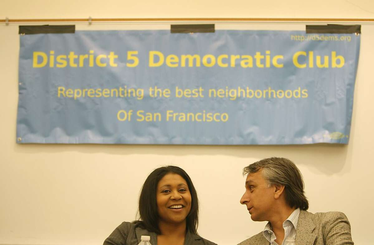 Candidates London Breed (left) and John Rizzo (right) are seen speaking at the candidates debate for District Five supervisor at the Park Branch Library on Wednesday, August 8, 2012 in San Francisco, Calif.