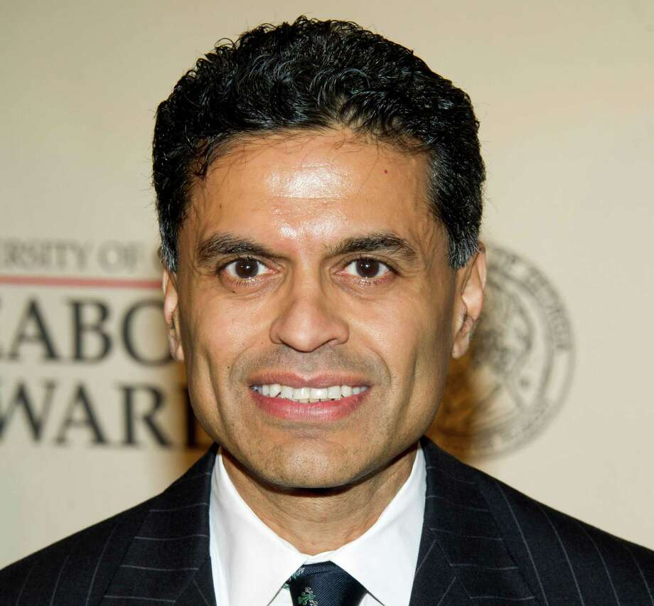 """FILE - This May 21, 2012 file photo shows columnist and TV host Fareed Zakaria attending the 71st Annual Peabody Awards in New York. Zakaria is apologizing for lifting paragraphs by another writer for use in his column in Time magazine. Zakaria said in a statement Friday, Aug. 10, he made a """"terrible mistake"""" and termed it """"entirely my fault.""""  Time magazine said it has suspended his column for one month pending further review. Media reporters had cited similarities between passages in Zakaria's column about gun control that appeared in Time's Aug. 20 issue, and paragraphs from an article by Harvard University history professor Jill Lepore published in April in The New Yorker magazine.  (AP Photo/Charles Sykes, file) Photo: Charles Sykes / FR170266 AP"""