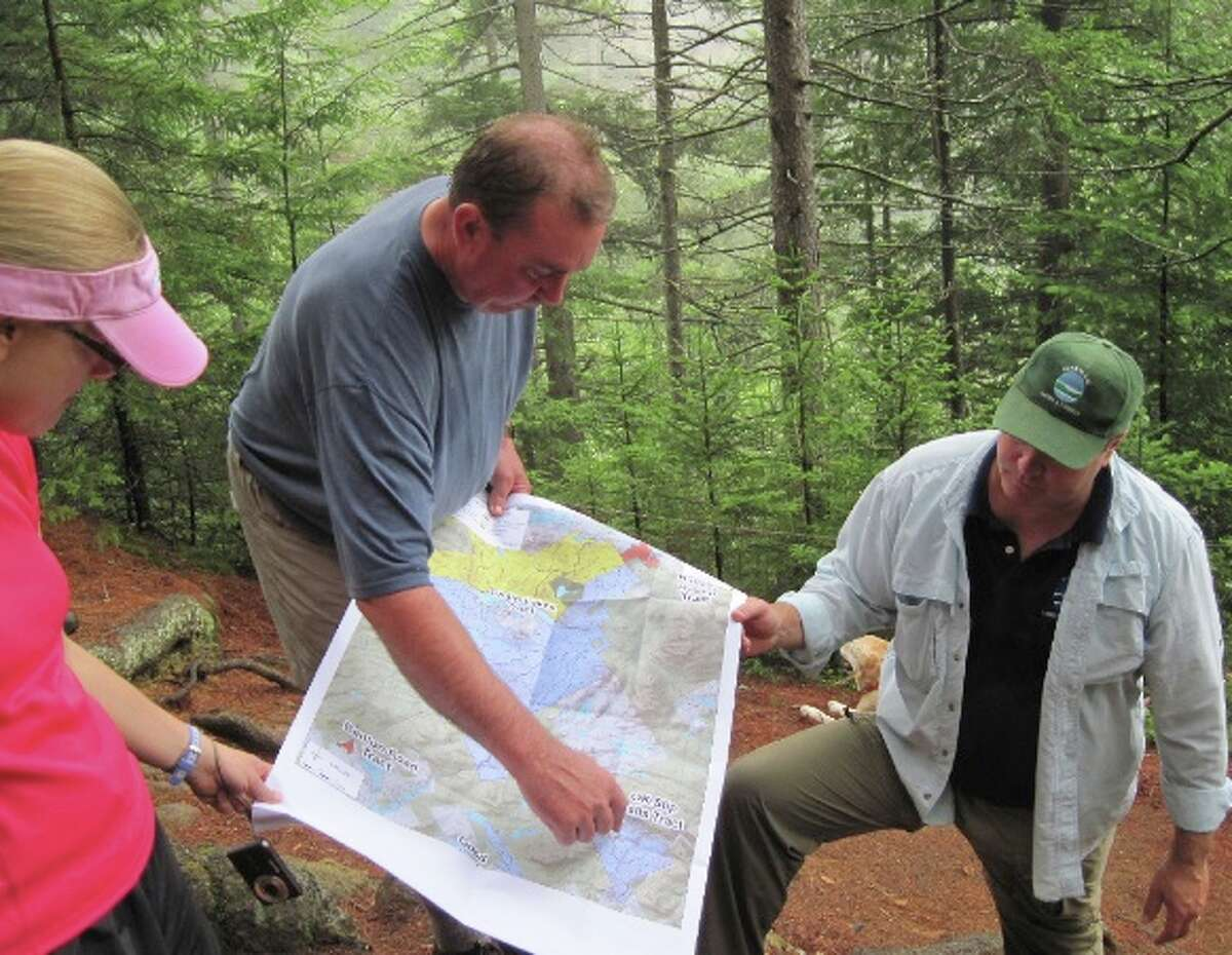 Michael Carr of The Nature Conservancy points out some features of the state's Adirondack Park expansion. (Rick Karlin / Times Union)