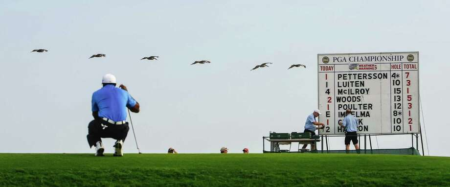 A flock of pelicans flies near Tiger Woods as he waits to putt on the 14th hole during the second round of the 2012 PGA Championship at the Ocean Course on Kiawah Island, S.C. Photo: Tim Dominick / The State
