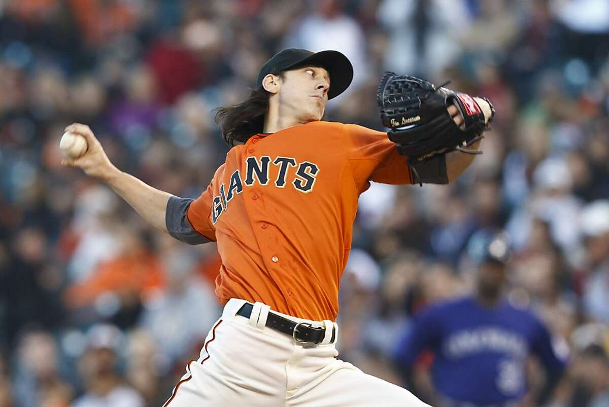 Tim Lincecum of the San Francisco Giants pitches against the Colorado Rockies during the first inning at AT&T Park on August 10, 2012 in San Francisco.