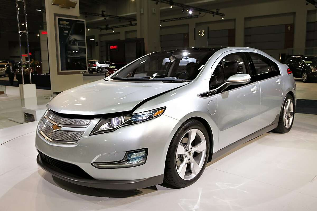 The Chevy volt displayed at the Washington Auto Show is an all electric vehicle.