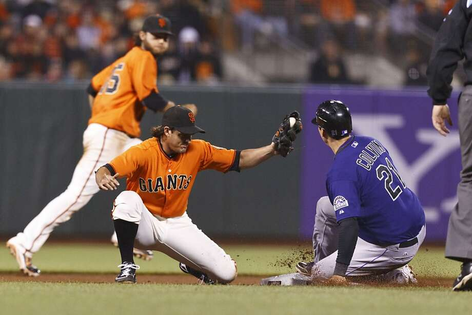 SAN FRANCISCO, CA - AUGUST 10: Tyler Colvin #21 of the Colorado Rockies steals second base ahead of a tag from Ryan Theriot #5 of the San Francisco Giants during the seventh inning at AT&T Park on August 10, 2012 in San Francisco, California. (Photo by Jason O. Watson/Getty Images) Photo: Jason O. Watson, Getty Images