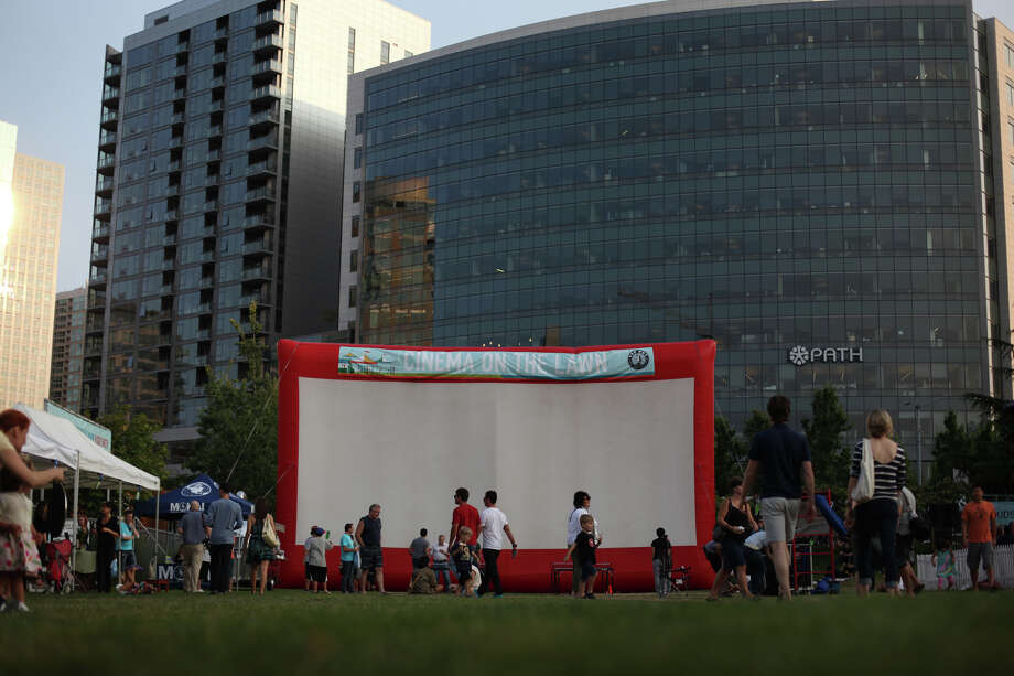 "A giant, inflatable movie screen is set up for a showing of the movie ""Dazed & Confused"" during the South Lake Union Block Party. Photo: JOSHUA TRUJILLO / SEATTLEPI.COM"
